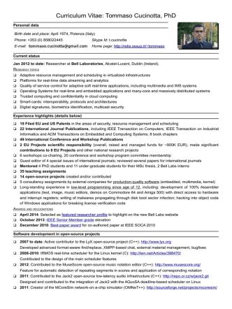 Curriculum Vitae di Tommaso Cucinotta - ReTiS Lab