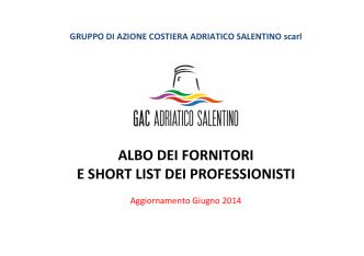 Albo dei fornitori e short list dei professionisti del GAC Adriatico