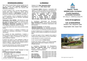 CARTA ACCOGLIENZA 2014 - Azienda ULSS 16 Padova