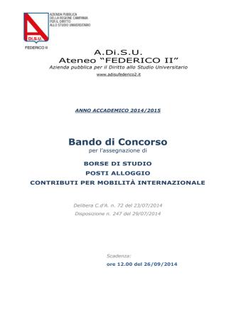 Bando di concorso a.a. 2014/2015