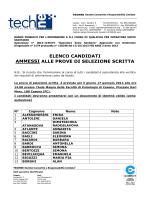elenco candidati ammessi alle prove di selezione scritta
