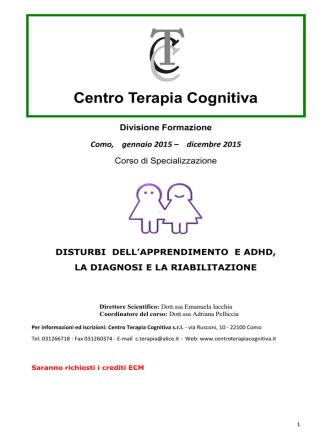 Centro Terapia Cognitiva Divisione Formazione Como, gennaio 2015