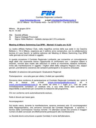 7 Luglio 2014 termine conferma partecipazione