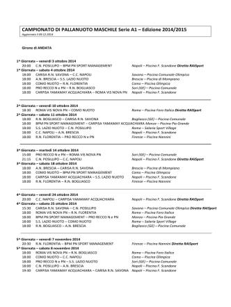 Calendario Campionato PN A1 Maschile 14/15