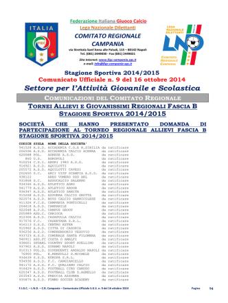 C.U. S.G.S. n. 9 del 16.10.2014