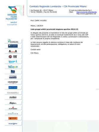Comitato Regionale Lombardia – CIA Provinciale Milano
