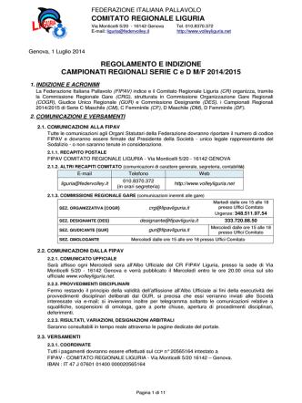 COMITATO REGIONALE LIGURIA REGOLAMENTO E INDIZIONE