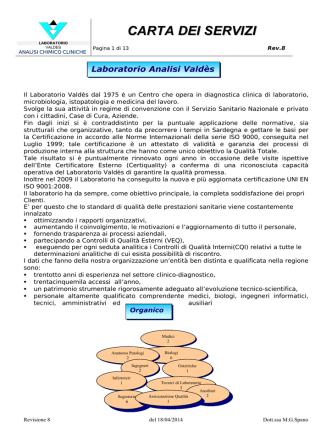 Carta dei servizi - Laboratorio Analisi Valdes