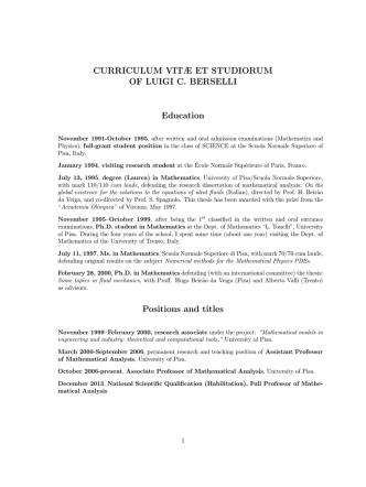 CURRICULUM VITÆ ET STUDIORUM OF LUIGI C. BERSELLI
