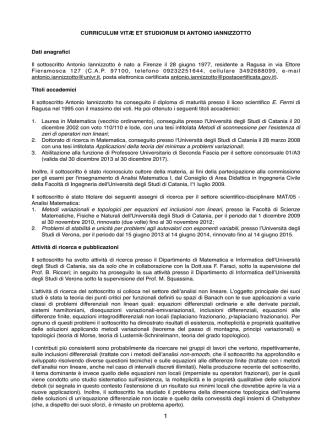 Curriculum Iannizzotto - Dipartimento di Matematica e Informatica