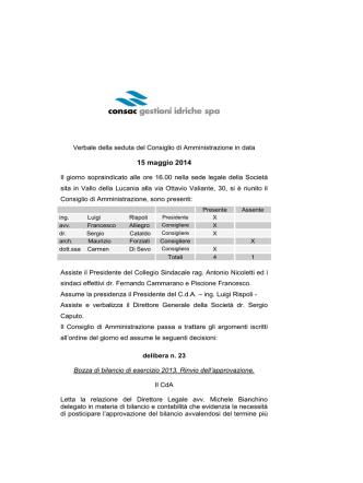 15 maggio 2014 - Consac gestioni idriche spa