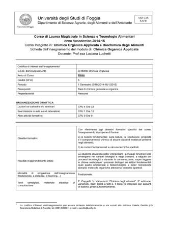 Chimica Organica Applicata - Università degli Studi di Foggia
