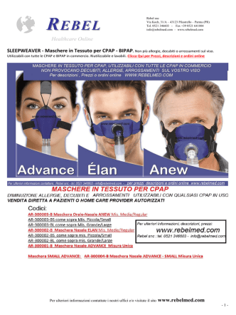Catalogo Maschere per CPAP BIPAP in tessuto slepweaver