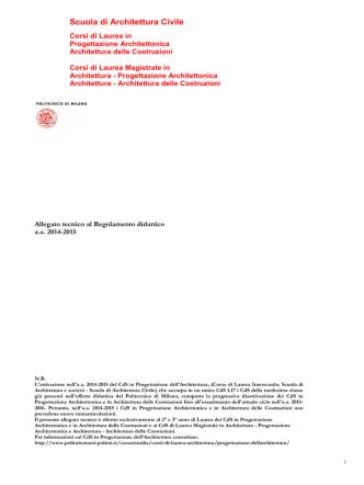 Allegato tecnico al regolamento didattico a.a. 2014-2015