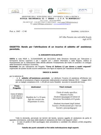 Bando Monterisi Assistenza infanzia CTP-ALBO