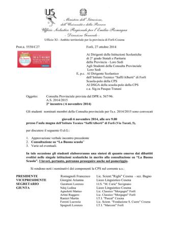Circolare - Ufficio XI - Ambito territoriale per la provincia di Forlì