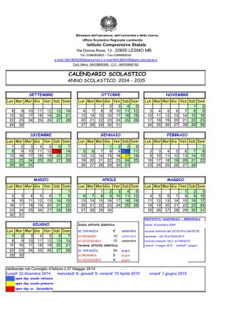calendario scolastico 2014-2015 - Istituto comprensivo statale Lesmo