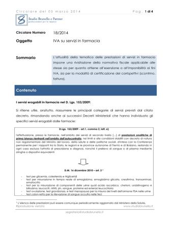 Circolare n 18 2014 - IVA su Servizi in Farmacia