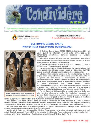 CondividereNews_gennaio_2014 - Suore Domenicane della Beata