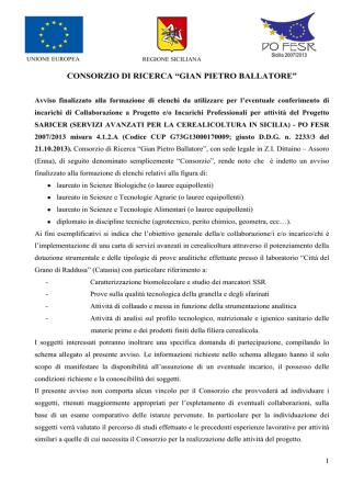 Avviso - Consorzio di Ricerca Gian Pietro Ballatore