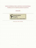 Indice generale degli articoli e dei materiali pubblicati in CF
