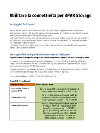 Abilitare la connettività per 3PAR Storage Vantaggi di Call Home