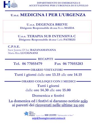 DEGENZA BREVE E TERAPIA SUB INTENSIVA C