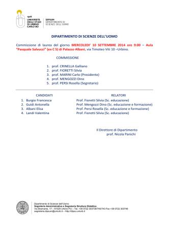 calendario tesi settembre 2014