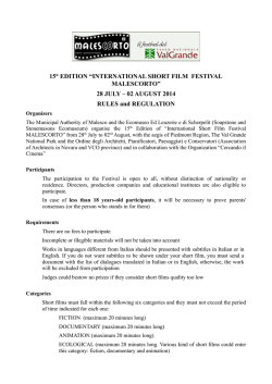 "15° EDITION ""INTERNATIONAL SHORT FILM FESTIVAL"