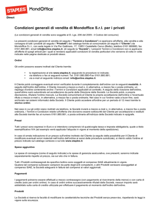 Condizioni generali di vendita di Mondoffice Srl per i privati