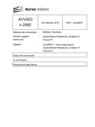 AVVISO n.2582 - Borsa Italiana