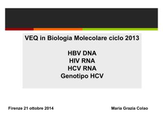 Analisi delle risposte VEQ in Biologia Molecolare
