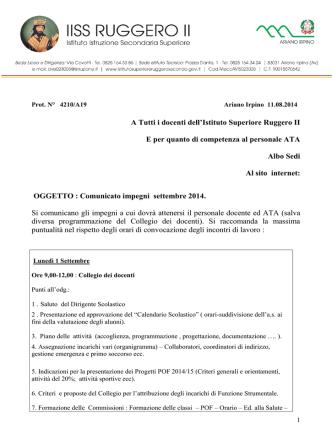 Calendario Impegni docenti Ruggero II Sett 2014