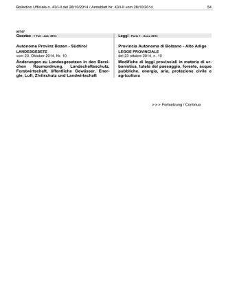 Bollettino N. 43 del 28/10/2014 - Regione Autonoma Trentino Alto
