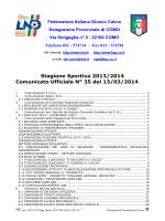 Stagione Sportiva 2013/2014 Comunicato Ufficiale N° 35 del