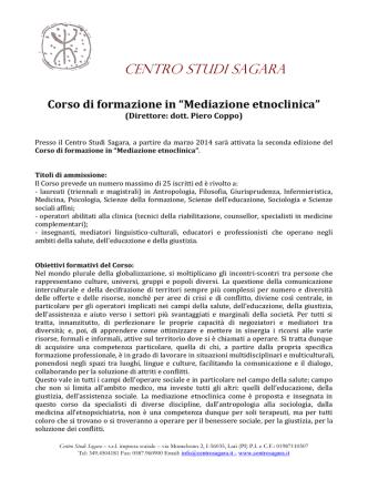 """Corso in """"Mediazione etnoclinica"""" 2014"""