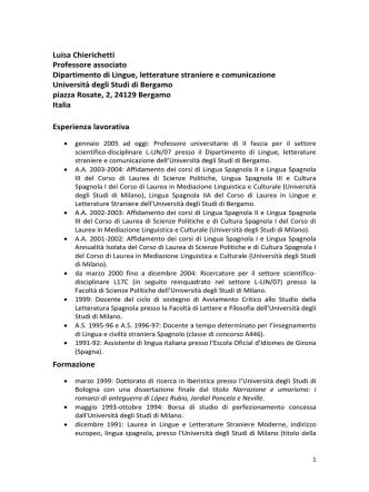 Curriculum vitae e pubblicazioni - Università degli studi di Bergamo