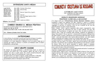 ACR E GRUPPI ISSIMI CATECHISMO CAMBIO ORARIO S. MESSA