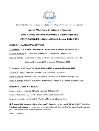 Calendario annuale e Orario completo a.a. 2014