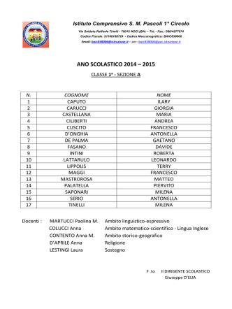 ANO SCOLASTICO 2014 – 2015 - Istituto Comprensivo SM Pascoli
