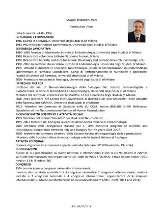 CURRICULUM VITAE Roberto Maggi Professore universitario