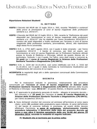 Decreto approvazione atti - Università degli Studi di Napoli Federico II