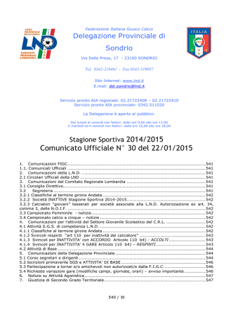 Comunicato ufficiale N.23