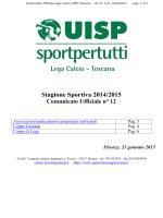 Comunicato Ufficiale n°12 - Lega calcio regionale toscana UISP