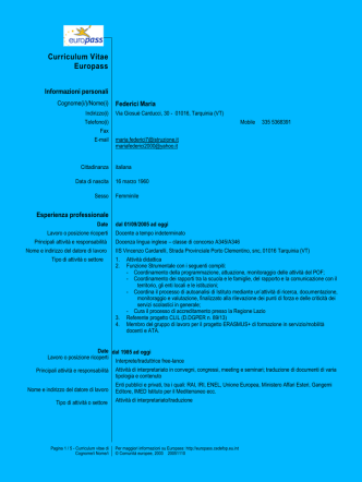 Curriculum vitae - IIS VINCENZO CARDARELLI Tarquinia