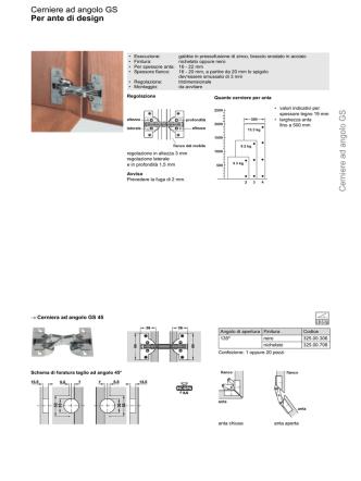 Cerniere ad angolo GS Per ante di design Cerniere ad
