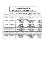 calendario girone di andata 2014/2015