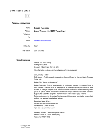 Curriculum Vitae - Doctoral School in Life and Health Sciences