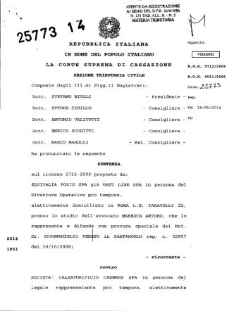 Corte di Cassazione, sez. trib., sentenza 05/12/2014, n. 25773