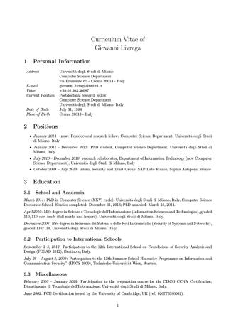 Curriculum Vitae of Giovanni Livraga